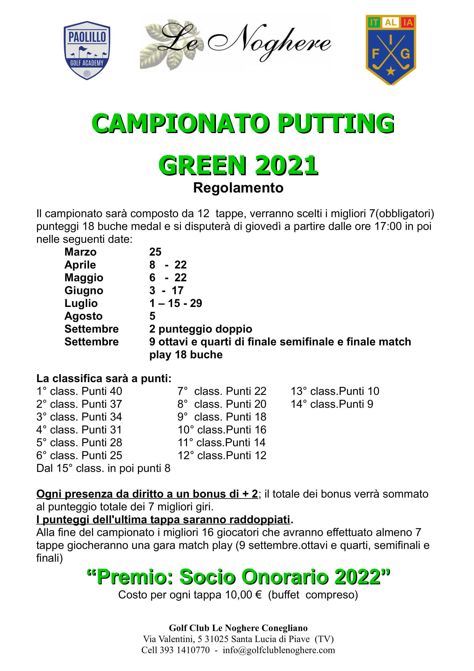 Regolamento Putting Green 2021